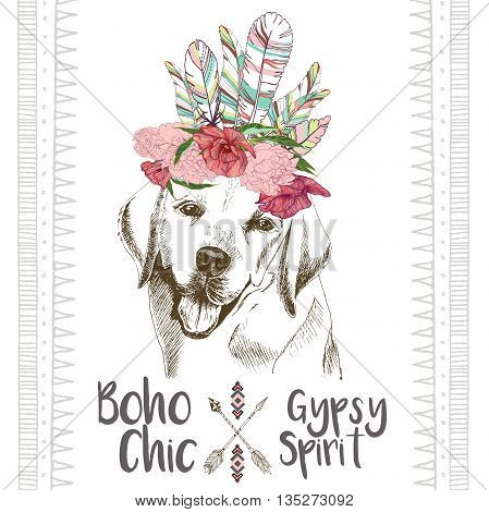 Vector close up portrait of labrador retriever wearing the indian feather headpiece. Hand drawn domestic dog illustration. Traditional boho chic decoration with aztec arrows feather and flowers.