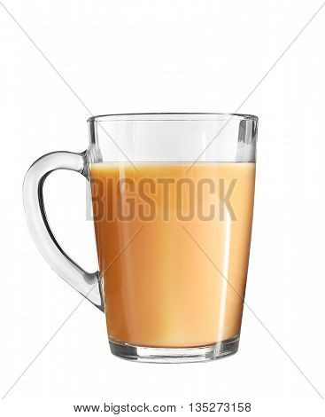 Glass cup of tea with milk isolated on white