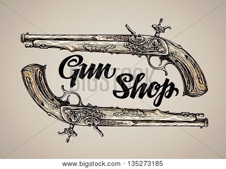 Vintage vector gun. Hand-drawn sketch antique musket