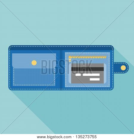 wallet with credit card illustration,purse icon, flat design with long shadow