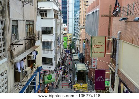 HONG KONG - NOV 9: Shelley Street and Central Mid-Levels Escalator near Caine Road in SoHo on Nov 9, 2015 in Hong Kong.