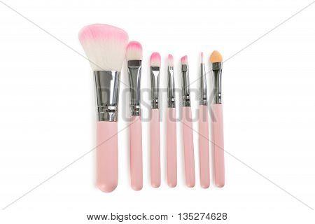 Makeup Brush Set Isolated On A White Background