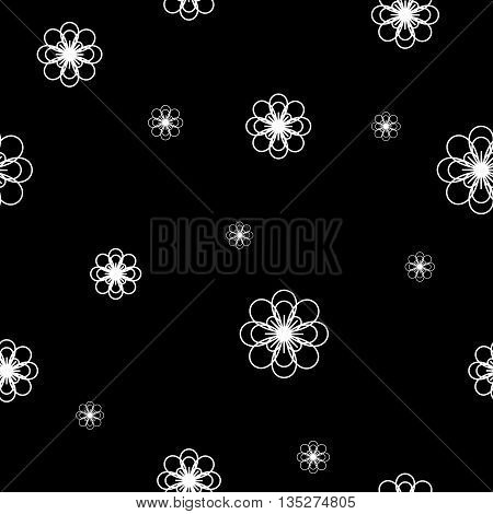 Flowers chaotic seamless pattern. Fashion graphic background design. Modern stylish abstract texture. Monochrome template 4 prints textiles wrapping wallpaper website etc Stock VECTOR illustration