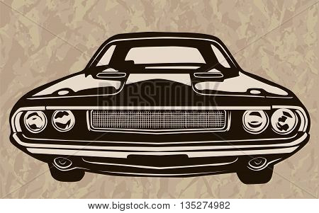 Muscle Car Abstract Retro Sketch 1