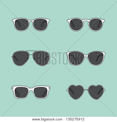 Set of glasses. Retro, wayfarer, aviator frames. Vector illustration