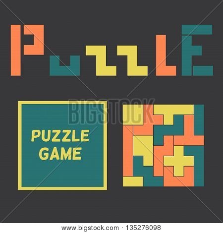 Colored puzzle game in box. Vector illustration.
