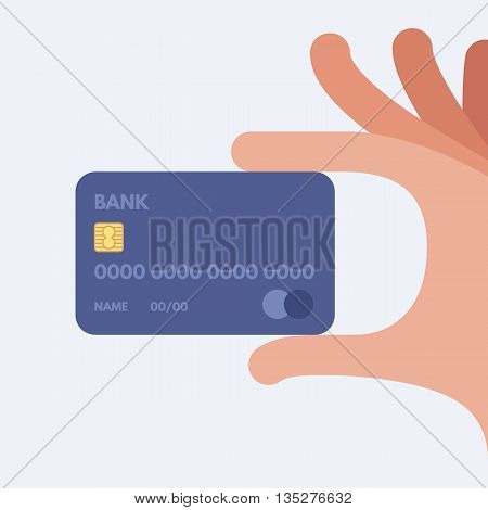 Hand holding credit card. Vector illustration. Flat design style.