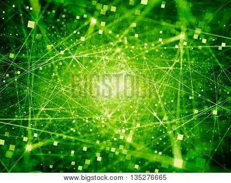 Green glowing connections in space with particles big data computer generated abstract background