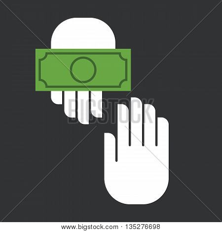 Hands giving and receiving money. Vector illustration. Flat design style