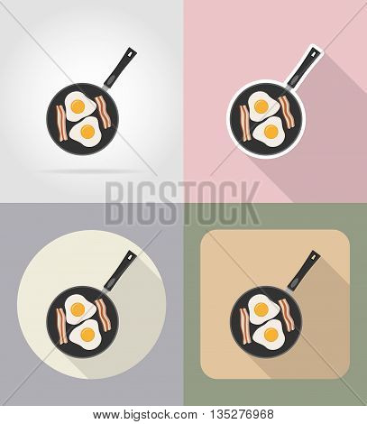 eggs with bacon in a frying pan food and objects flat icons vector illustration isolated on background