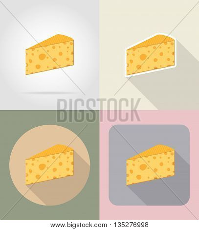 piece of cheese food and objects flat icons vector illustration isolated on background