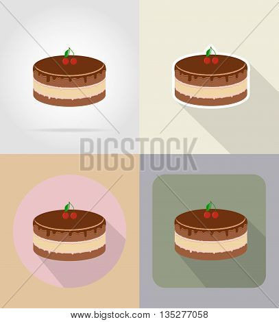 chocolate cake food and objects flat icons vector illustration isolated on background