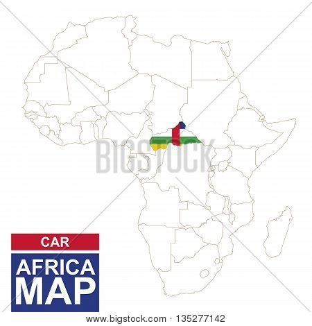 Africa Contoured Map With Highlighted Central African Republic.