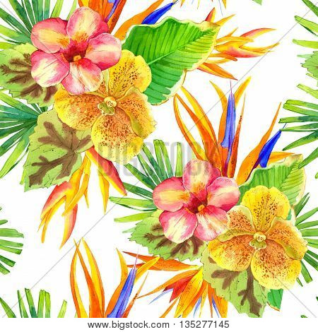 Beautiful tropical plants on white background. Composition with lily, strelitzia, palm and begonia leaves and orchid.