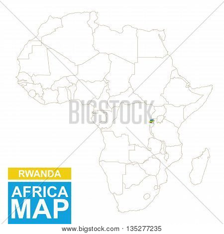 Africa Contoured Map With Highlighted Rwanda.