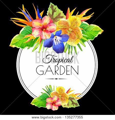 Floral illustration with tropical flowers and plants on black background. Composition with palm leaves, orchid, lily and strelitzia.