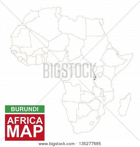 Africa Contoured Map With Highlighted Burundi.