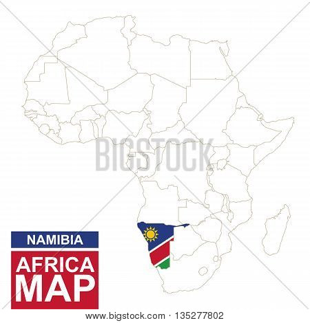 Africa Contoured Map With Highlighted Namibia.
