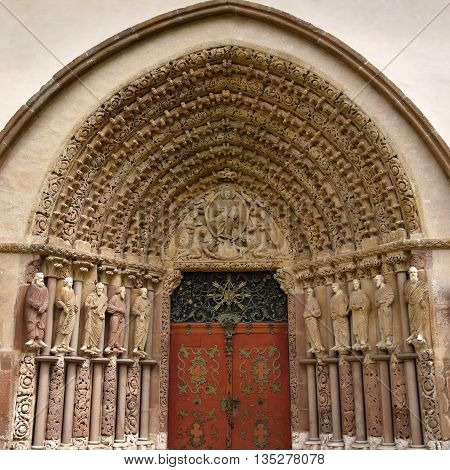 Porta Coeli. Gothic portal of the Romanesque-Gothic Basilica of the Assumption of the Virgin Mary Czech Republic built in 1230