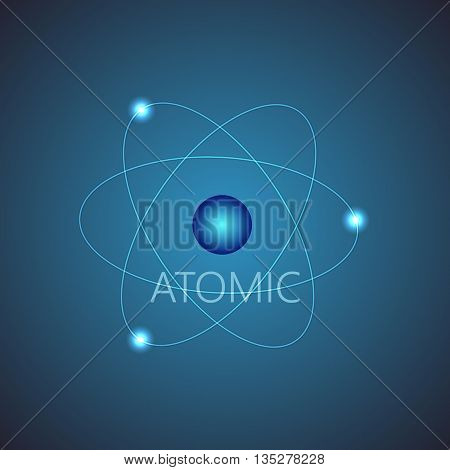 Background with blue shining atom scheme. Vector illustration. Abstract technology background for computer graphic.