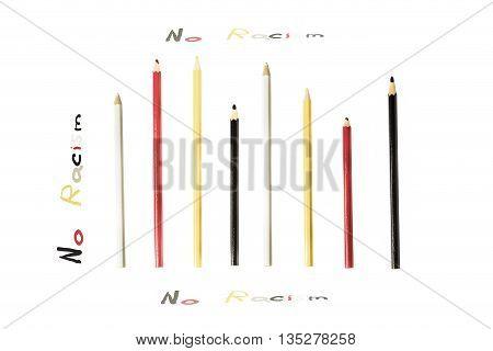 No Racism Pencils Concept