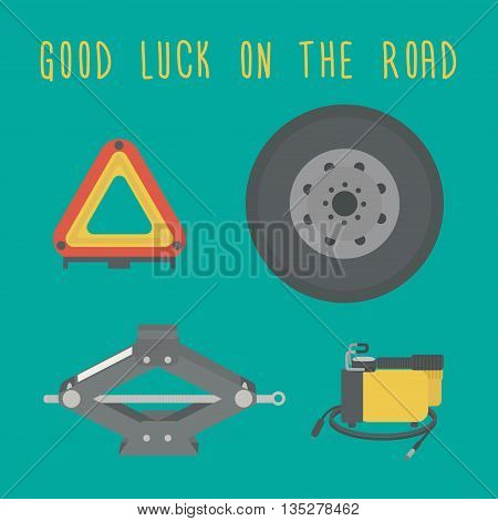 Good luck on the road. A Jack, spare wheel, warning triangle, car air compressor. Vector illustration.