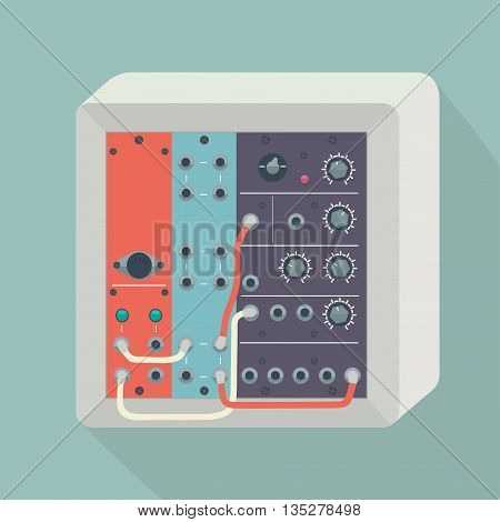 Icon modular synthesizer with wires. Vector illustration.