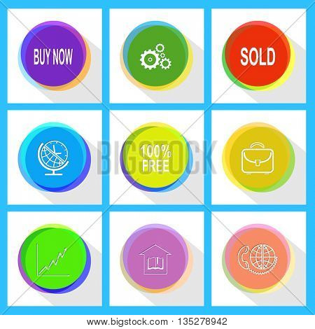 sold, gears, buy now, briefcase, 100% free, globe and clock, global communication, library, diagram. Business set. Internet template. Vector icons.
