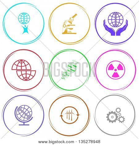 little man with globe, lab microscope, protection world, shift globe, dna, radiation symbol, wind turbine, gears. Science set. Internet button. Vector icons.
