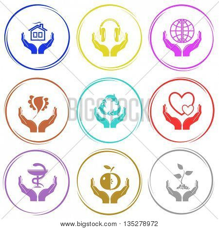 home in hands, headphones, protection world, bird, protection sea life, love, pharma symbol, apple, plant. In hands set. Internet button. Vector icons.