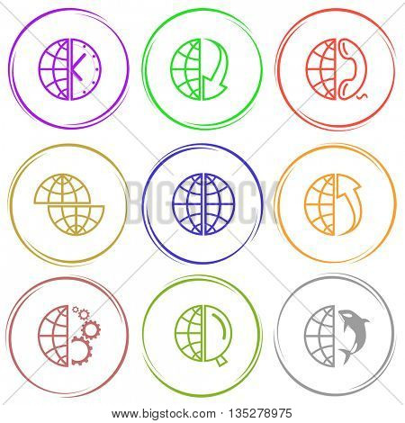 globe and clock, array down, phone, shift globe, array up,  gears, magnifying glass, shamoo. Globe set. Internet button. Vector icons.