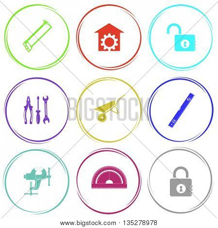 hacksaw, repair shop, opened lock, tools, wheelbarrow, spirit level, clamp, protractor, closed lock. Industrial tools set. Internet button. Vector icons.