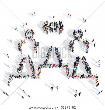 Large and creative group of people gathered together in the shape of people, pedestal, competition, sport. 3D illustration, isolated against a white background.