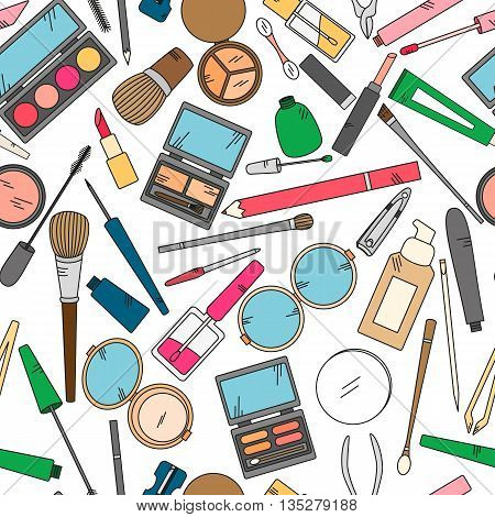 Seamless pattern with tools for makeup in bright colors. Vector collection for beauty design.