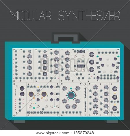 Modular synthesizer in suitcase format. Vector illustration.