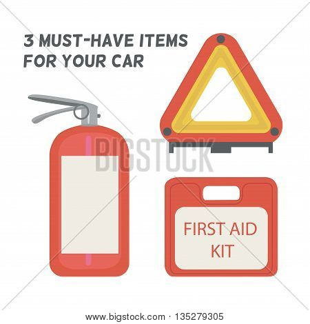 Must be in the car. First aid kit, fire extinguisher, warning triangle. Vector illustration.