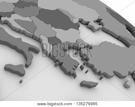 Greece On Grey 3D Map