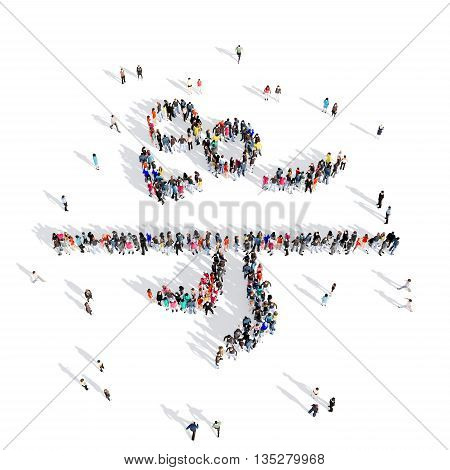 Large and creative group of people gathered together in the shape of people, volleyball, sport. 3D illustration, isolated against a white background.