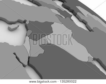 Israel, Lebanon, Jordan, Syria And Iraq Region On Grey 3D Map
