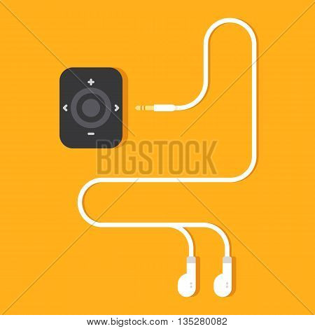 Portable music device on yellow background. Modern mp3 player with earphones. Vector flat illustration.