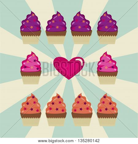 Some cupcakes and the heart on the white and blue background.