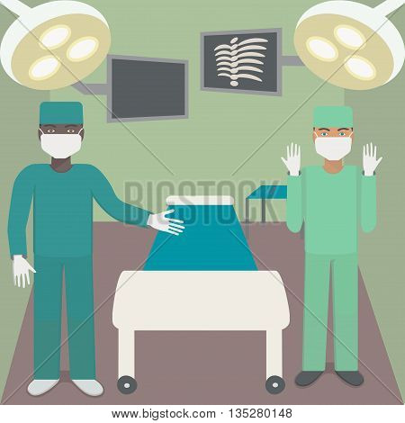Surgeon in the operating room with a partner. Operating with shadowless lamps, monitors, couch, surgical instruments and doctors. Vector illustration.