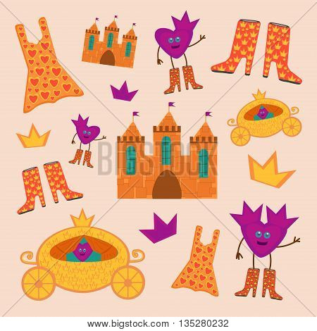Princess set with coaches, boots, castles, dresses and crowns.