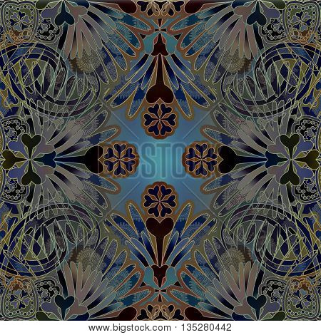 dark pale oriental floral patterned background symmetric