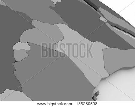 Kenya, Uganda, Rwanda And Burundi On Grey 3D Map