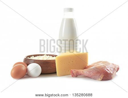 Products containing proteins and fats, isolated on white