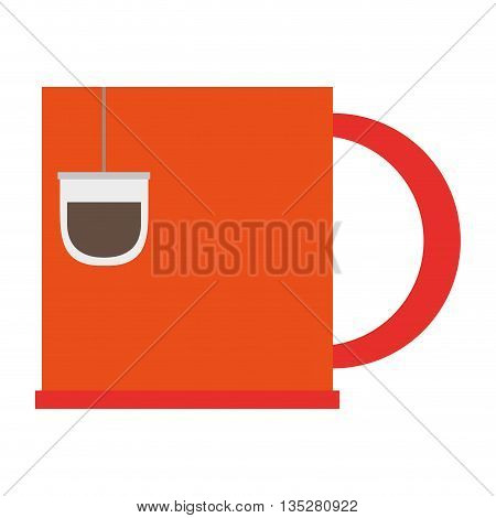 orange cup with tea bag vector illustration
