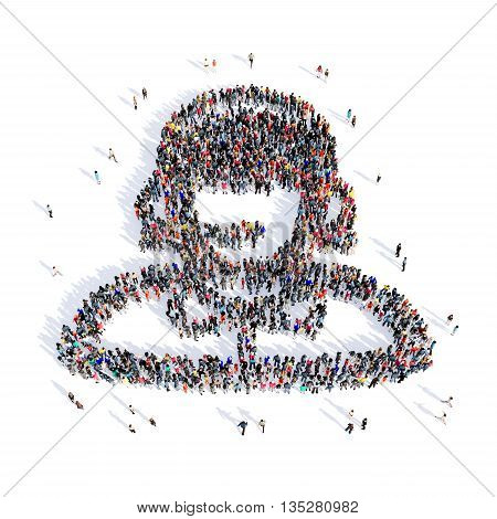 Large and creative group of people gathered together in the shape of consultant image. 3D illustration, isolated, white background.