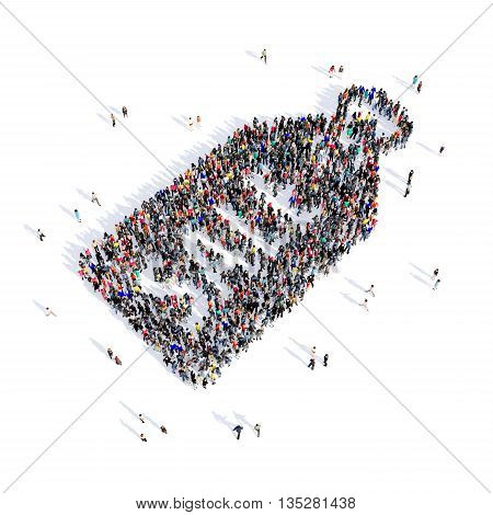 Large and creative group of people gathered together in the shape of tag, selling , image. 3D illustration, isolated, white background.