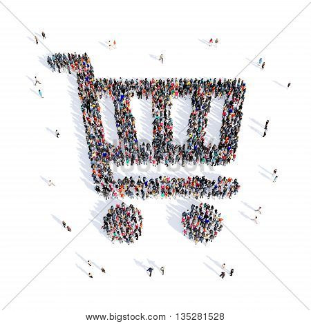 Large and creative group of people gathered together in the shape of a handcart image. 3D illustration, isolated, white background.